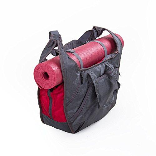 Yogatasche BOHDI Tote Bag NATARAJ (grau/rot), Yogamattentasche, viele praktische Fächer, leichtes &...