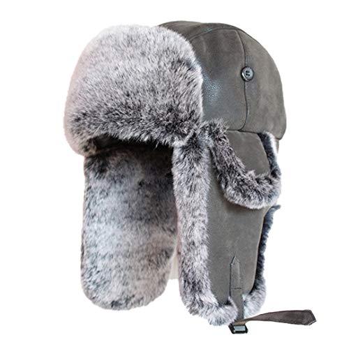 SCVBH Sombreros de Bombardero de Invierno, Gorras Vintage para Hombres y Mujeres, Sombrero de Cazador de Cuero PU, a Prueba de Viento, Gorros de Soldado Black L(58cm-59cm)
