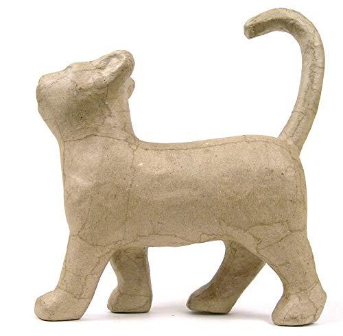 Décopatch SA729O Träger S aus Pappmaché, Katze laufend, 21 x 6 x 19 cm, zum Verzieren, Kartonbraun