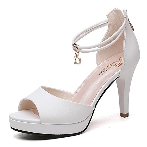 LYN Zapatos de Mujer PU Verano otoño Comodidad Correa Club Zapatos Sandalias Zapatos para Caminar Stiletto Heel Open Toe (Color : White, Size : EU38/UK5.5/CN38)