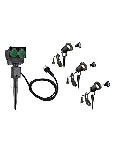 SLV LED Strahler NAUTILUS XL 3er Set mit Erdspieß, 4-fach IP44 Gartensteckdose 1,5m, 3x GU10 Leuchtmittel, Aussen-Leuchte, Außen-Strahler