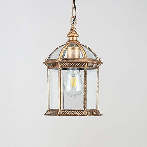 DULG Vintage utomhus takhänglampor, IP65 vattentät hängande lykta ljus, retro hängande lampskärm, glas aluminium utomhuslampor för uteplats trädgård veranda balkong, guld, E27, LED – varmt ljus