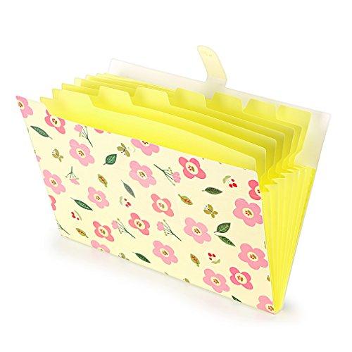 BTSKY ファイルケース ドキュメントファイル a4 8ポケット 持ち運び プラスチック オシャレ 可愛い花柄 インデックス付き 資料 分類収納 書類整理 ファイルケース 学校 オフィス(イエロー)