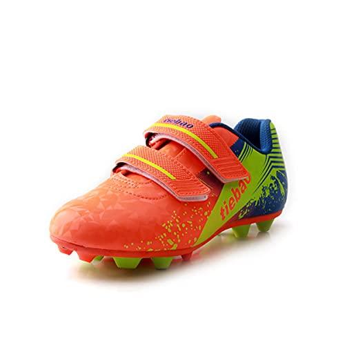 Saekeke Botas de fútbol para niños TF Zapatos de fútbol Adolescentes Adultos Profesionales Atléticos Antideslizante Calzado de Entrenamiento Unisex Naranja Verde EU31
