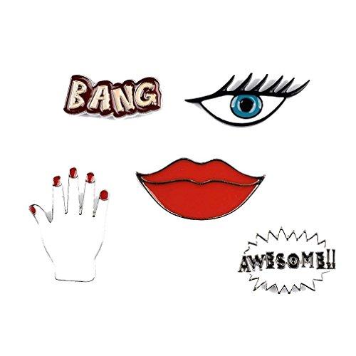 """FGF 5-teiliges Anstecker-Set für Frauen mit Lippen, Hand, bösem Auge, """"Bang""""- und """"Awesome""""-Schrift, emailliert, Broschen für Kleidung, Taschen, Rucksäcke und Jacken"""