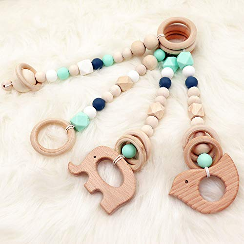 4Pcs Baby Gym Toys Teether Wooden Ring...