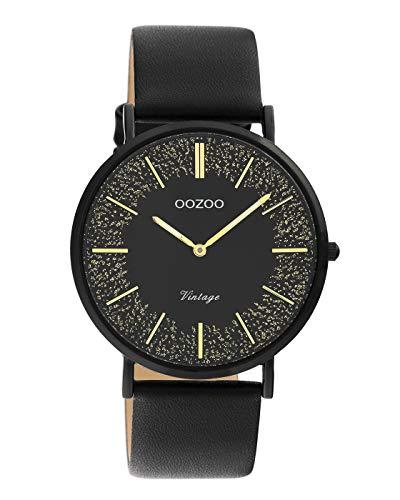 Oozoo Vintage Damenuhr mit Lederband 40 MM Black/Schwarz Glitzer/Schwarz C20132