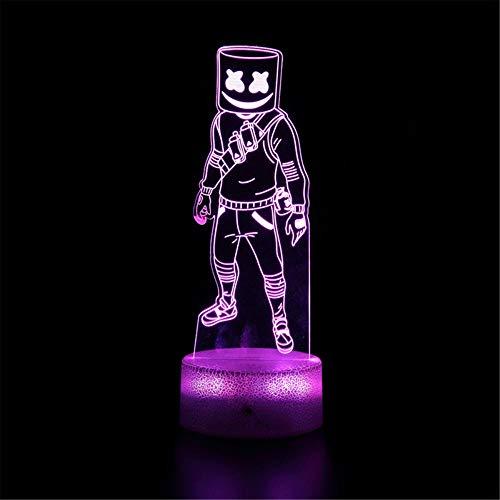 Battle Royale Fortress Game H 3D LED Lámpara de ilusión Luz de noche 16 colores regulable Control táctil con base de grieta+mando a distancia para niños niñas niños regalos