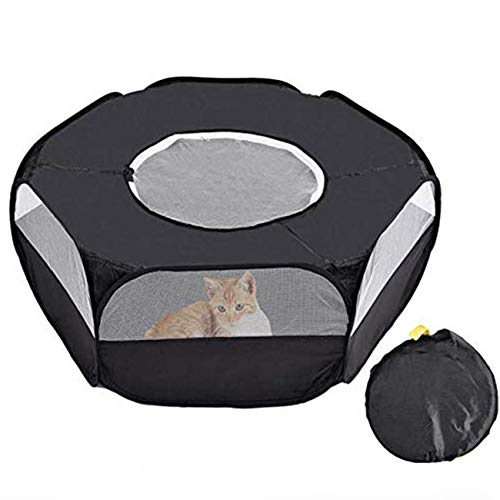 CHIOUPA Small Animal Playpen/Small Animals Ten/Hamster Foldable Exercise Playpen, Portable Transparent with Cover Polyester for Rabbit Guinea Pigs Gerbils Hedgehogs Reptiles (Black)
