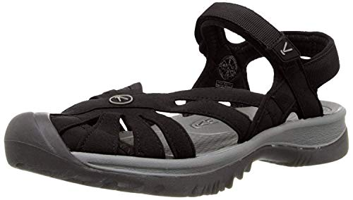 KEEN Women's Rose Sandal, Black/Neutral Gray,9 M US