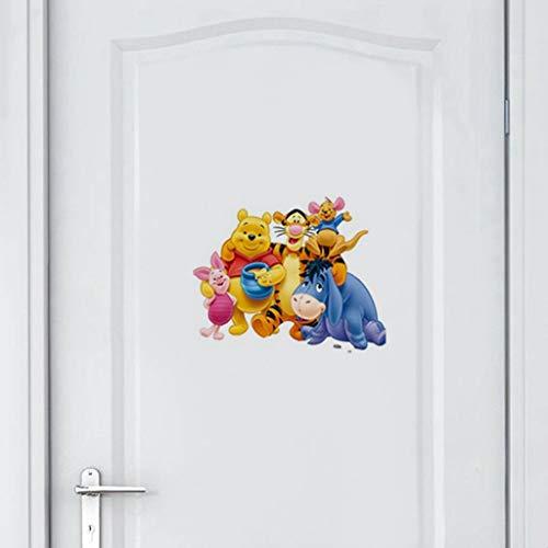 Winnie l'ourson ours Disney amovible pépinière Wall Decal coloré ours Animal décoratif enfants Stickers muraux pour bébé chambre porte décor pépinière porte décor