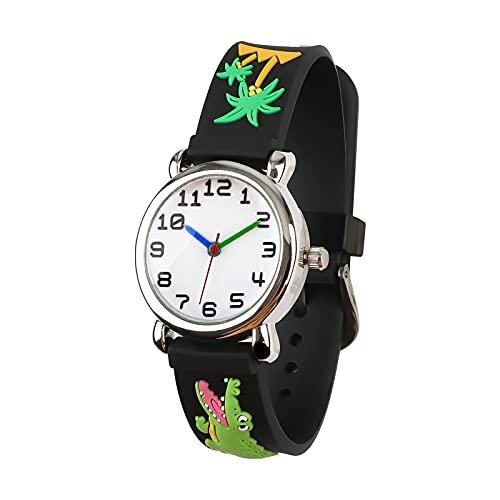 El Reloj de Niños de Vinmori, Reloj de Cuarzo con Dibujos Animados Bonitos de 3D a Prueba de Agua Regalo para Chicos Niños y Niñas Cocodrilo-Negro
