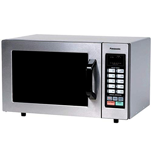 """Panasonic Countertop Commercial Microwave Oven with 10 Programmable Memory, Touch Screen Control and Bottom Energy Feed, 1000W, 0.8 Cu. Ft. (Stainless Steel), 5"""" (Renewed)"""