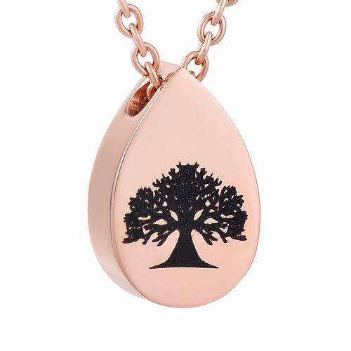 TIANZXS Árbol de la Vida de Grado en Colgante y Collar de Metal en Forma de lágrima, urna pequeña, Cofre de Ceniza, Rosa Dorado