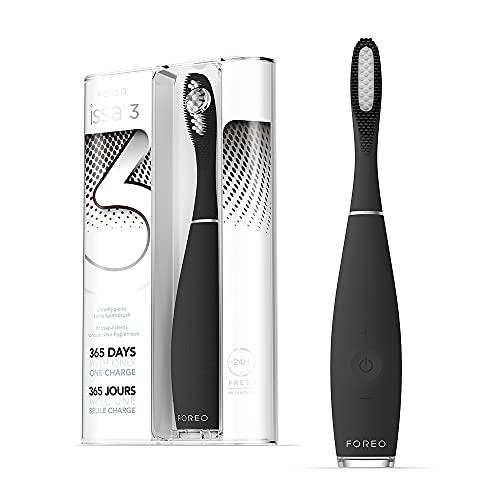FOREO ISSA 3 Cepillo de dientes sónico, recargable y ultra higiénico con silicona y polímero PBT, cabezal remplazable cada 6 meses, 16 intensidades, 365 días de carga USB,Black