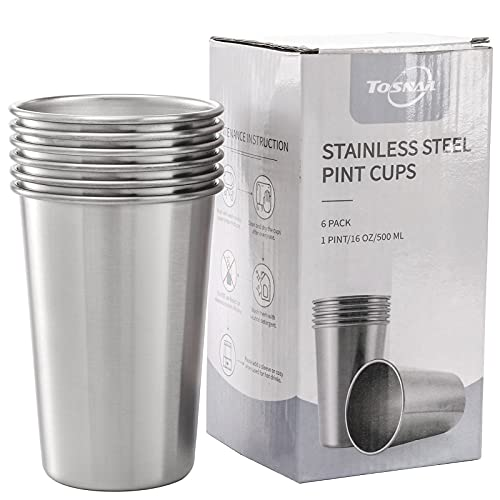 Tosnail 6 Pack 16 oz Stainless Steel Pint Cups Metal Cups Unbreakable Drinking Glasses Water...