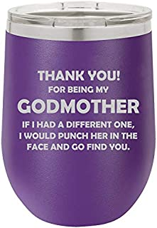 12 oz Double Wall Vacuum Insulated Stainless Steel Stemless Wine Tumbler Glass Coffee Travel Mug With Lid Godmother Thank You For Being My Funny (Purple)