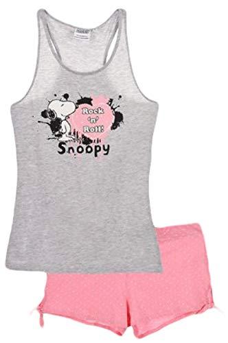 Peanuts Snoopy Damen Pyjama-Set, kurz, Baumwolle Gr. Medium, grau
