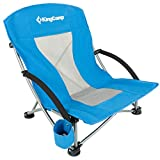 KingCamp Low Sling Beach Chair for Camping Concert Law, Low and High Mesh Back Two Versions