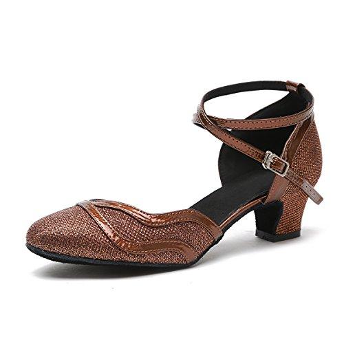 MINITOO Damen Latein Salsa Ankle Strap Bronze Glitter Social Tanzschuhe Party Schuhe EU 39