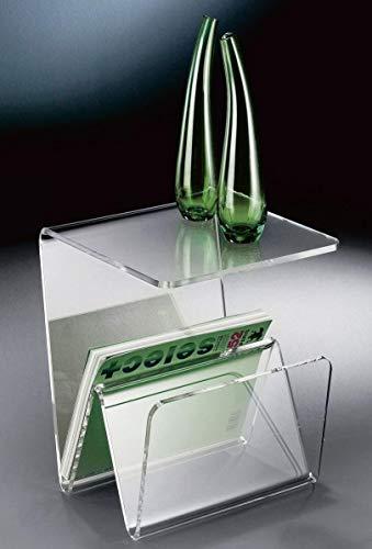 HOWE-Deko Hochwertiger Acryl-Glas Zeitungsständer, Beistelltisch mit Zeitschriftenständer, Zeitungstasche, klar, 35 x 35 cm, H 41,5 cm, Acryl-Glas-Stärke 10 mm