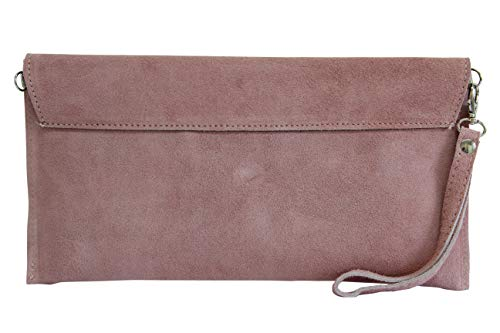 AMBRA Moda Damen Wildleder Clutch Handtasche veloursleder Tasche Handschlaufe WL811 (Altrosa dunkel) - 3