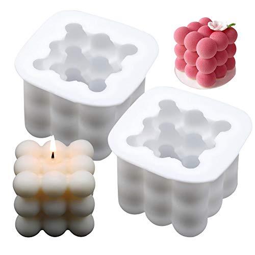 Piazza Palla Candela Stampi 3D, NALCY 2 Pezzi Silicone Piazza Candele Realizzazione di Stampi, Fai da te candele stampo, per Candela Profumata di Soia Cera Handmade Soap
