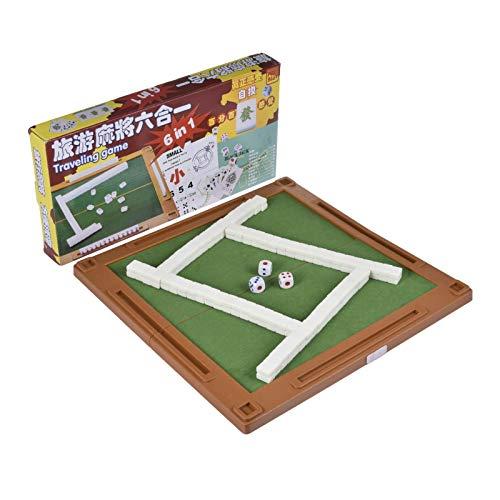 knowledgi Juego tradicional chino Mahjong 6 en 1, combinación de mini juego con mesa plegable, juego de mesa portátil para viajes familiares, camping, fiestas