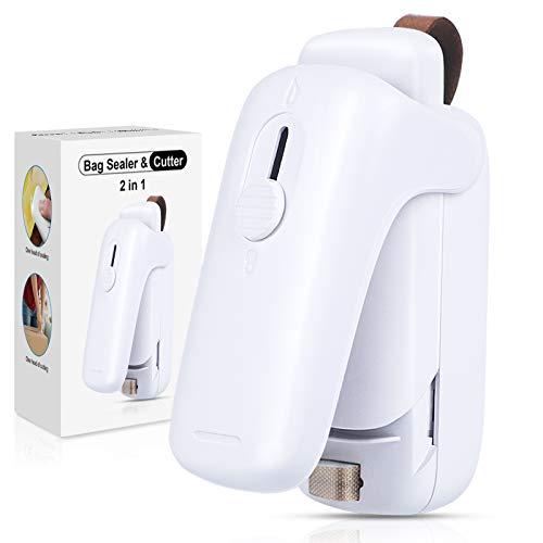 EZCO Mini Folienschweißgerät, 2 in 1 Mini Bag Sealer mit Cutter, Hand-Folienschweißgerät Tüten Schneiden und Verschließen Heißsiegelmaschine Handlicher Tüten Verschweißer (Batterie enthalten)