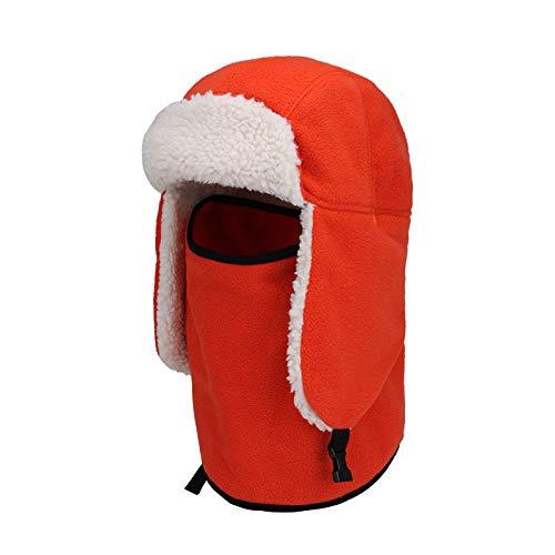 Sombrero De Invierno Trapper,Naranja Felpa Caliente Espesante Protector De Cuello Largo Unisex...