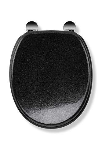 Croydex Flexi-Fix Quartz passt Immer auf rutschfeste antibakterielle WC-Sitze, Holz, Schwarz, 44.5 x 38 x 6 cm