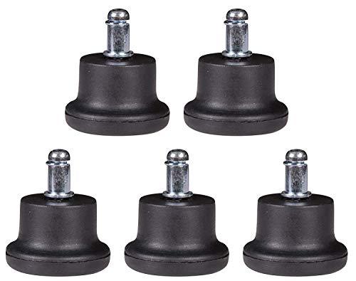 Sxspace - Juego de 5 Deslizadores de Suelo para Silla de Oficina (Redondos, 11 mm), Color Negro