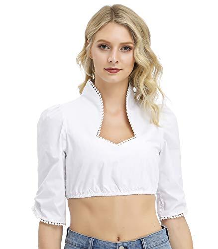 TrendiMax Damen Elegante Dirndlbluse, Schwarz Weiß Dirndl Bluse mit Spitze, Trachtenbluse für Oktoberfest 34-42