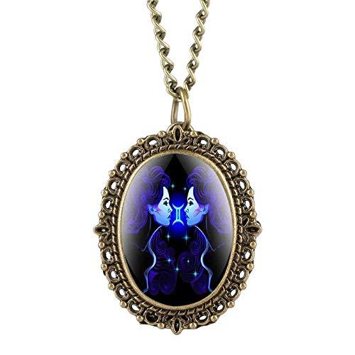 LEYUANA 12 Constelación Astrología Reloj de Bolsillo Ovalado Collar de Zodiaco Azul Fluorescente único Colgante de Cuarzo Regalo de cumpleaños para Amigo Géminis