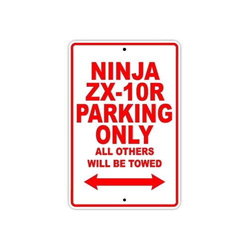 Fhdang Decor Ninja ZX-10R Parking Only all Althers Will Be Towed Moto Scooter novità Garage Targa in Alluminio, Metallo, Multi, 8x12 Inches
