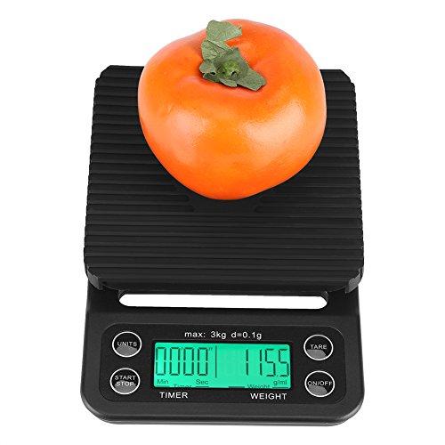 Digitale keukenweegschaal, 3 kg/0,1 g, elektronisch lcd-display, digitale keuken-/levensmiddelweegschaal, druppelkoffie, wegen met timer voor huishoudelijke keuken, levensmiddelen, groenten, vis, weegschaal groen