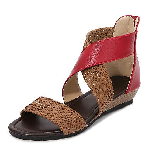 CAGAYA damskie sandały letnie, wzór boho, buty letnie, czas wolny, płaskie, rzymskie, wygodne, eleganckie sandały, czerwony - czerwony - 42 EU