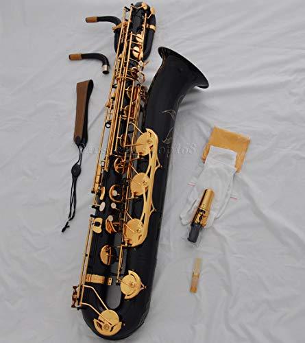 FidgetKute - Saxofón barítono dorado de pintura negra profesional bajo A alto F # + 2 cuellos