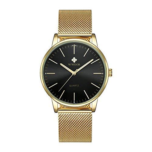 Reloj de Cuarzo para Hombre Reloj de Acero Inoxidable Resistente al Agua con cronómetro-B