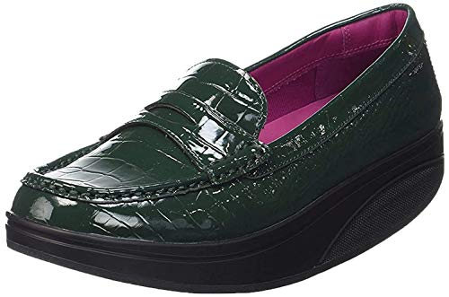 MBT Shani Luxe Penny Loafer, Mocasines Mujer, Verde (Bottle Green Patent), 38 EU