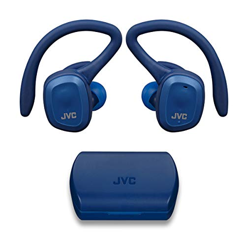 JVC HA-ET45TA Truly Wireless Sport Headphones, Dual Ear Support with Detachable Hook, 14H Total Battery Life with Charging Case, Waterproof IP55 (Blue)