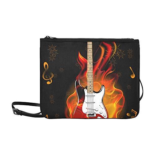 N\A Abend Clutch Bag Brennende Gitarre Verstellbarer Schultergurt Mode Reisetasche Für Frauen Mädchen Damen Mode Umhängetasche Für Mädchen Damen Tragetaschen Handtaschen