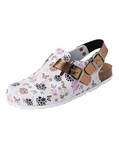 CLINIC DRESS Clog - Clogs Damen bunt weiß Motiv. Schuhe für Krankenschwestern, Ärzte oder Pflegekräfte weiß/Kupfer/Rose, All-Over-Print, Blumen und Schmetterlinge 38