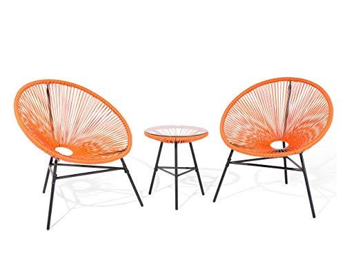 Lustiges Balkonset 2 Stühle 1 Tisch Spaghetti Stil Rattan orange Acapulco