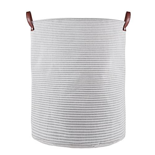 IHOMAGIC 48L Cesto para Ropa Sucia Redondo con elegante diseño de rayas - Cesta de Almacenamiento de Lona con Asas de Cuero sintético, Cesto de Lavandería para Juguetes, Toallas, Mantas (Rayas Grises)