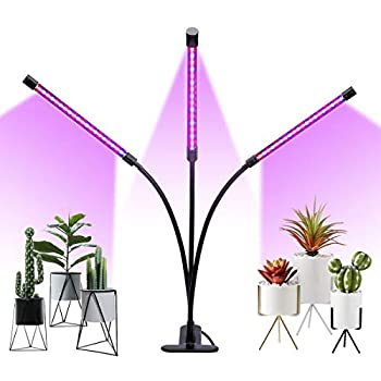 Winjoy Grow Light 30W LED Grow Lamp Bulbs Plant Lights Full Spectrum Auto ON & Off with 3/6/12H Timer 5 Dimmable Levels Clip-On Desk Grow Lamp Triple Head Adjustable Gooseneck for Indoor Plants
