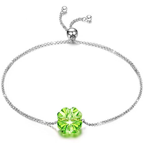 J.NINA 925 Sterling Silver Jewelry Lucky Love Clover Link Adjustable Bracelet with Peridot Birthstone Crystals from Swarovski Anniversary Birthday Gifts for Teen Girls Girlfriends Wife Lovers Sisters