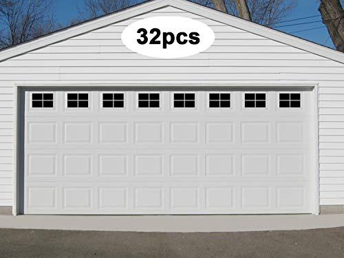 Eapele Magnetic Garage Door Windows Hardware Faux Windows Decoration Kit for Two Car Metallic Garage (32pcs)