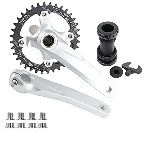 XUJINGJIE Bike Crank Arm Set BCD 104 170mm Aluminum Alloy Road Mountain Bike Crankset with Bottom Bracket 32T/34T/36T/38T Round Wide Chainring Sprocket,Silver,36T