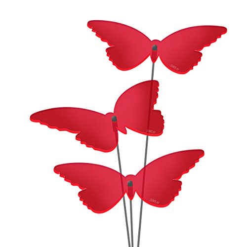 "SUNPLAY Sonnenfänger ""Schmetterlinge Isabelle"" in ROT, 3 Stück je 10 cm Durchmesser im Set + 35 cm Schwingstäbe"